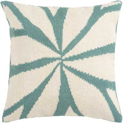 "Lush Leaf Throw Pillow - Ivory/Turquoise - 18"" - Polyester insert - AllModern"