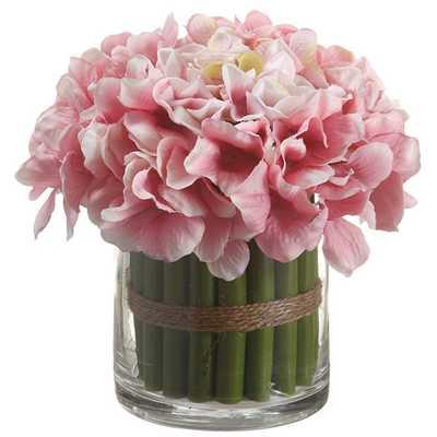 Hydrangea Bouquet in Glass Vase - AllModern