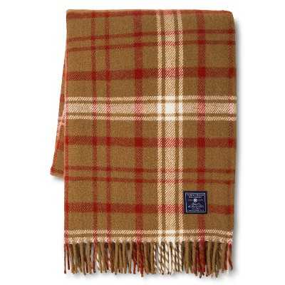 Faribault for Target Plaid Wool Throw - Chestnut - Target