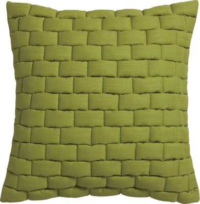 "mason quilted moss green 18"" pillow with down-alternative insert - CB2"