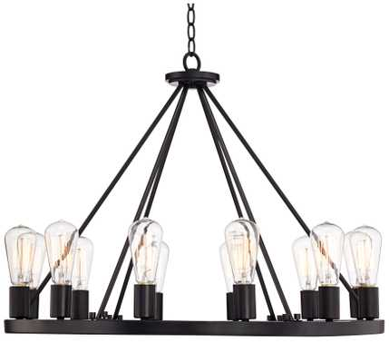 Lacey Wide Round Black Chandelier - Lamps Plus