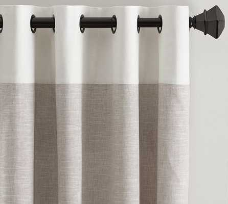"Emery Border Linen Drape - 50 X 84"" - Pottery Barn"