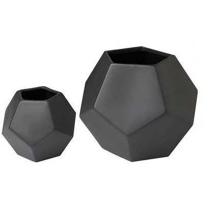 Faceted Black Vase - Medium - High Fashion Home
