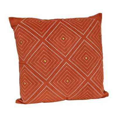 "Spice Zafar Embroidered Pillow - 20""x20"" - Polyester fill - kirklands.com"