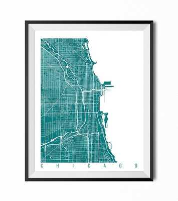 "CHICAGO Map - Wall Art Decor, 16"" x 20"" - Framed - Etsy"
