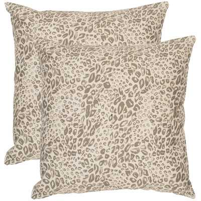"Satin Leopard Decorative Throw Pillow - Earth - 20"" H x 20"" W - Down/Feather Fill - Wayfair"