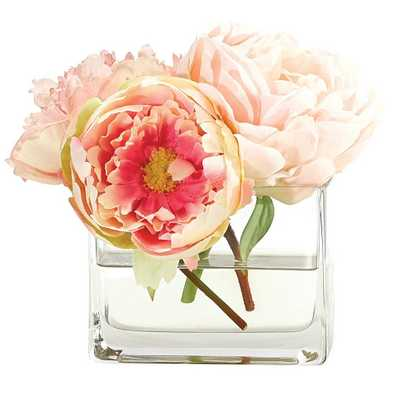 Peony, Pink, Glass Cube, Set of 4 - Domino