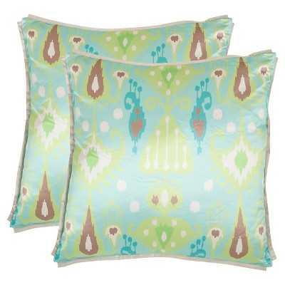 "Safavieh 2 Pack Stella Pillow - Blue/Green (18""X18"") - Target"