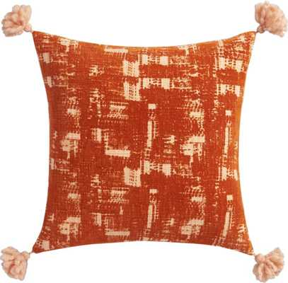"""orval pillow -  16"""",  Orange, with Insert - CB2"""