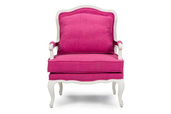ANTOINETTE CLASSIC ANTIQUED PINK FABRIC FRENCH ACCENT CHAIR - Lark Interiors
