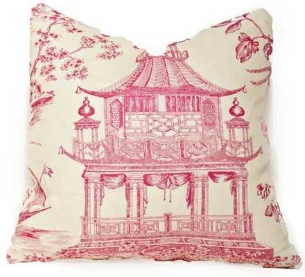 Chinoiserie Chic Hot Pink Pillow -18 x 18, Down insert included - Society Social