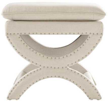 VALENCIA VANITY STOOL - Herringbone Natural Linen - Home Decorators