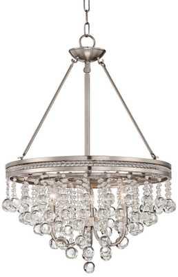 """Regina Brushed Nickel 19"""" Wide Crystal Chandelier - Lamps Plus"""