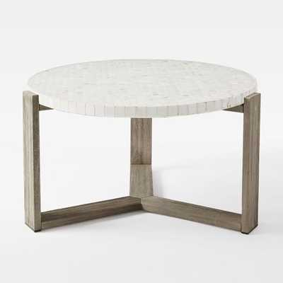 Mosaic Coffee Table – White Marble-Wood (Driftwood finish) - West Elm