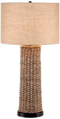 Woven Seagrass and Burlap Table Lamp - Lamps Plus