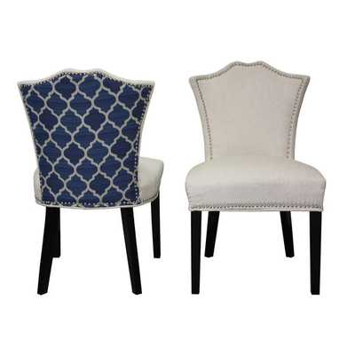 Sweetheart Two-tone Ivory Regency/ Blue Ogee Dining Chair (Set of 2) - Overstock