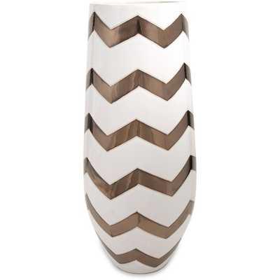 Bronze Metallic Chevron Vase - Overstock