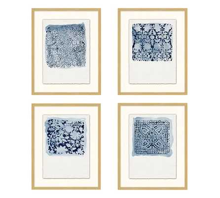 "TEXTILE STAMP FRAMED PRINTS (Set of 4) - 16.25"" x 1.625"" - Pottery Barn"