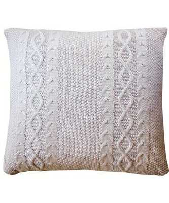 "Large Cable Knit Throw Pillow- Stone- 24"" x 24"" Insert Sold Separately - High Street Market"