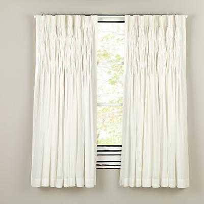 "63"" Antique Chic Curtain (White) - Land of Nod"