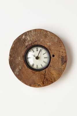 Reclaimed Wood-Wheel Clock - Anthropologie