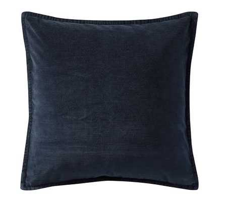 "Washed Velvet Pillow Cover - Midnight Blue, 20"" x 20"", No insert - Pottery Barn"