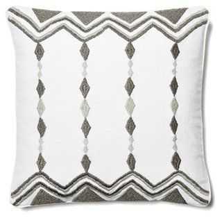 Chevron & Diamond Pillow - 18x18 - Navy/multi - Feather/down insert - One Kings Lane