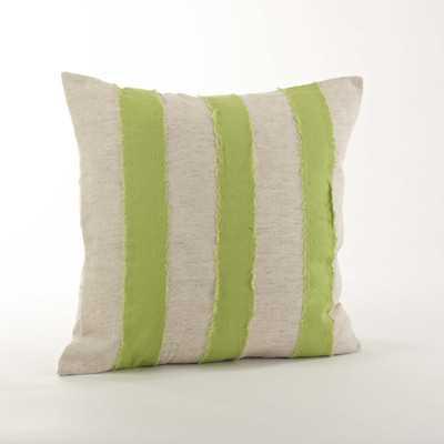 "Cap Ferrat Banded Cotton Throw Pillow - Lime - 18""x18"" - Down/Feather Fill - Wayfair"