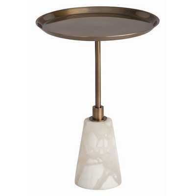 Arteriors Celeste Vintage Brass/Snow Marble Accent Table - Candelabra