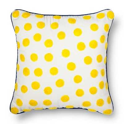 """Crewel Embroidery Polka Dot Pillow Yellow - 18""""sq. - Polyester fill - Target"""