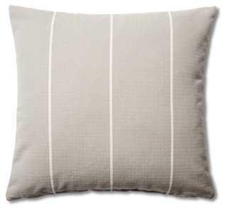 Stripe 20x20 Cotton Pillow, Gray- Down/feather - One Kings Lane