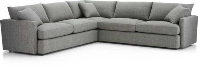 Lounge II Petite 3-Piece Sectional Sofa - Steel - Crate and Barrel