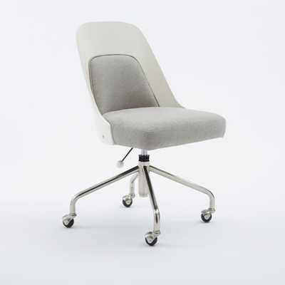 Bentwood Office Chair + Cushion - White/Ash Gray - West Elm