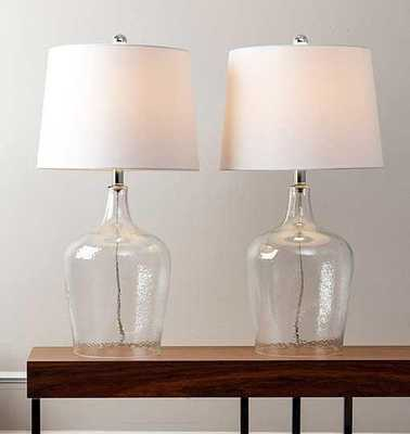 Abbyson Living Delmore Clear Glass Table Lamp (Set of 2) - Tressle
