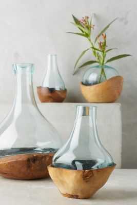 Teak & Bottle Vase- Large - Anthropologie