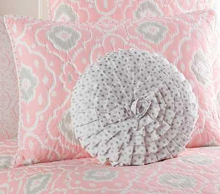 Ruffled Mini Dot Decorative Pillow - Silver, insert included - Pottery Barn Kids