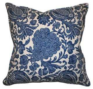 Batik 22x22 Cotton Pillow, Blue - feather/down insert - One Kings Lane