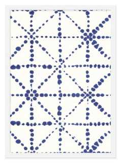 """Ayelet Iontef, True Blue Dots and Lines - 16"""" x 13"""" - Framed - One Kings Lane"""