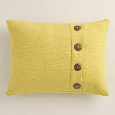 Linden Green Basket Weave Cotton Lumbar Pillow - World Market/Cost Plus