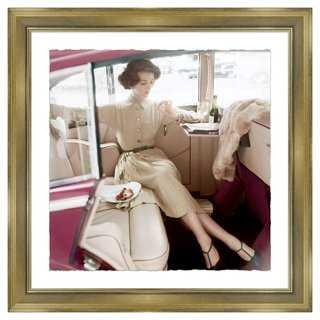"Glamour Magazine, Model in Car-27'5""x27'5""-Champagne Frame - One Kings Lane"