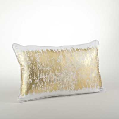 Metallic Banded Design Pillow - Gold - Overstock