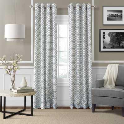 """Crackle Single Curtain Panel -Blue Mist-52"""" x 95"""" - Wayfair"""