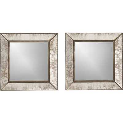 Set of 2 Dubois Small Square Wall Mirrors - Crate and Barrel