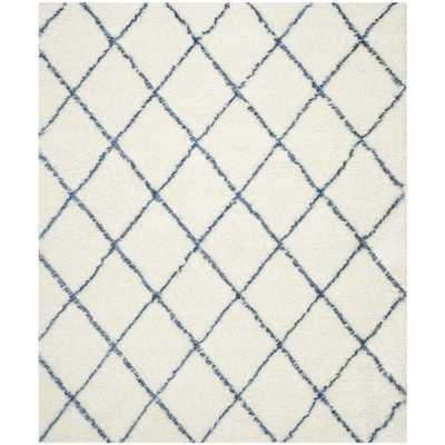 Moroccan Shag Ivory & Blue Geometric Contemporary Area Rug - Wayfair