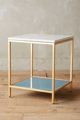 Lindley Marbled Side Table - White/Blue - Anthropologie