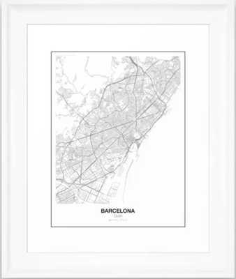 Barcelona, Spain Minimalist Map Framed Art Print - Society6