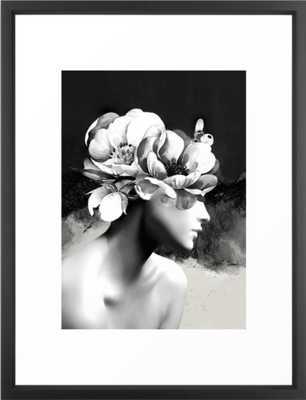 Floral Portrait-black and white Framed Art Print - Vector Black - Medium 20 x 26 - Society6