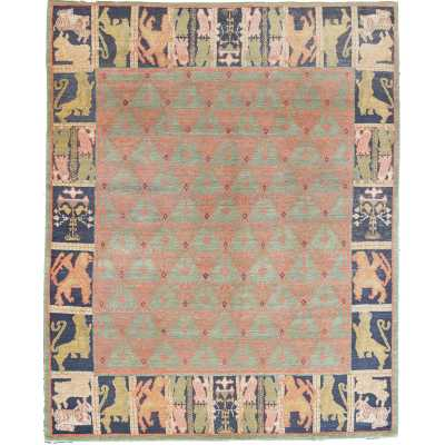 ONE-OF-A-KIND TIBETAN ORIGINAL HAND-KNOTTED WOOL PISTACHIO/PINK INDOOR AREA RUG - Perigold