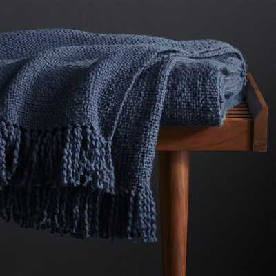 Styles Blue Fringe Throw Blanket - Crate and Barrel