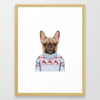 """Animals as a human. French Bulldog in down vest and sweater. Framed Art Print- FRAME Conservation Natural- SIZE Medium (gallery) -20"""" X 26"""" - Society6"""